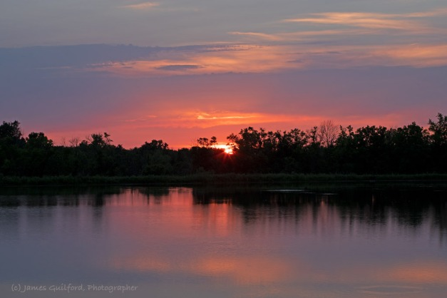 Photo: A Showy Sunset made Waiting for Meteors a Pleasure. Photo by James Guilford.