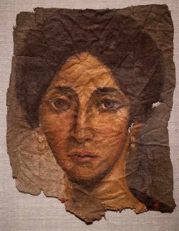 "Photo: ""Funerary Portrait of a Woman"", about AD 138 - 192, Encaustic on Linen, Egypt, Roman Empire, Antonine, Cleveland Museum of Art"