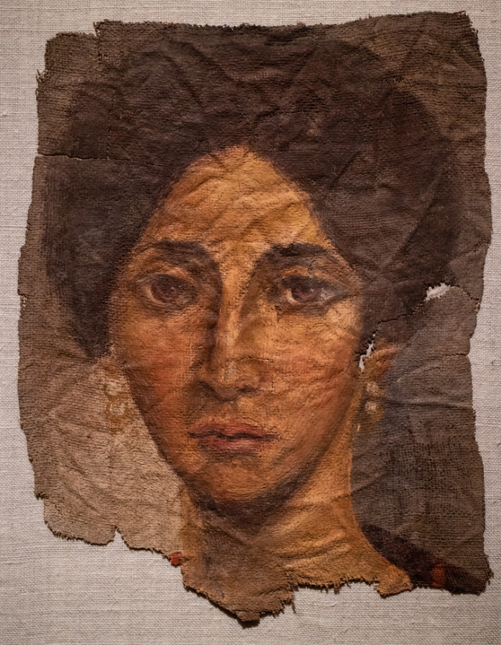 "Photo: ""Funerary Portrait of a Woman"", about AD 138 - 192, Encaustic on Linen, Roman Empire, Antonine"