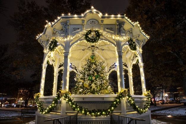 Photo: The gazebo at the center of Public Square, Medina, Ohio, all dressed up for the holidays! Photo by James Guilford.