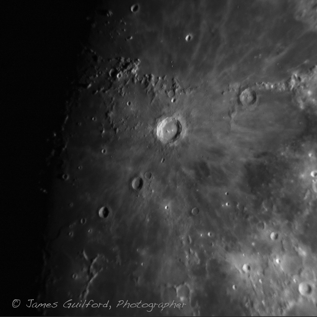 Photo: Crater Copernicus in the Sea of Islands. Ocean of Storms to the north. Photo by James Guilford.