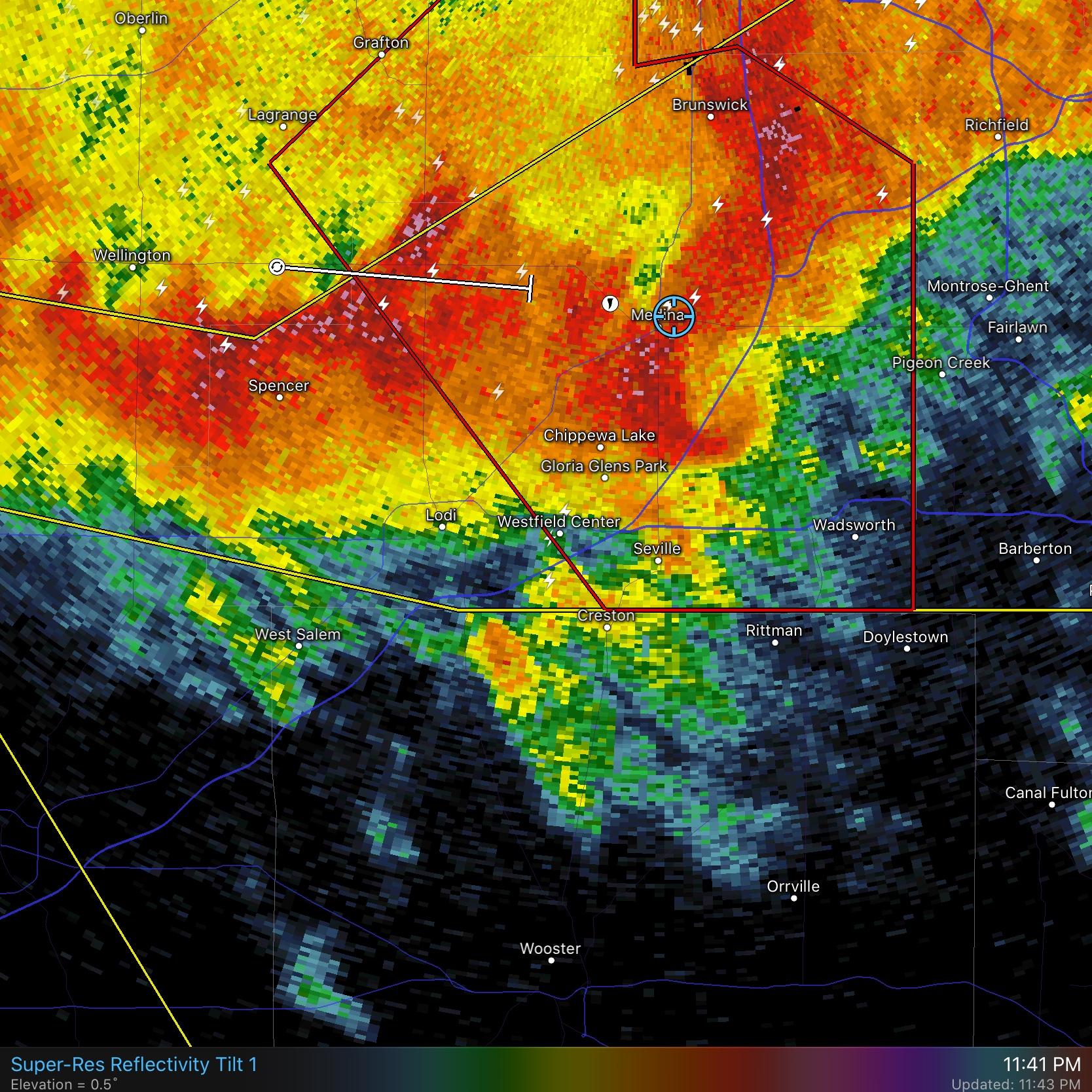 Radar image of severe thunderstorm with tornadic hook.