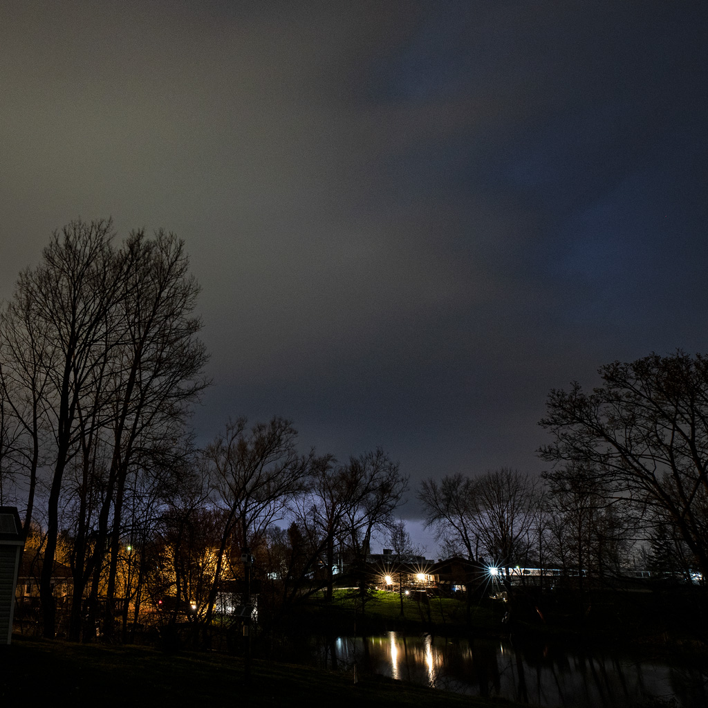 Cloud shapes at night