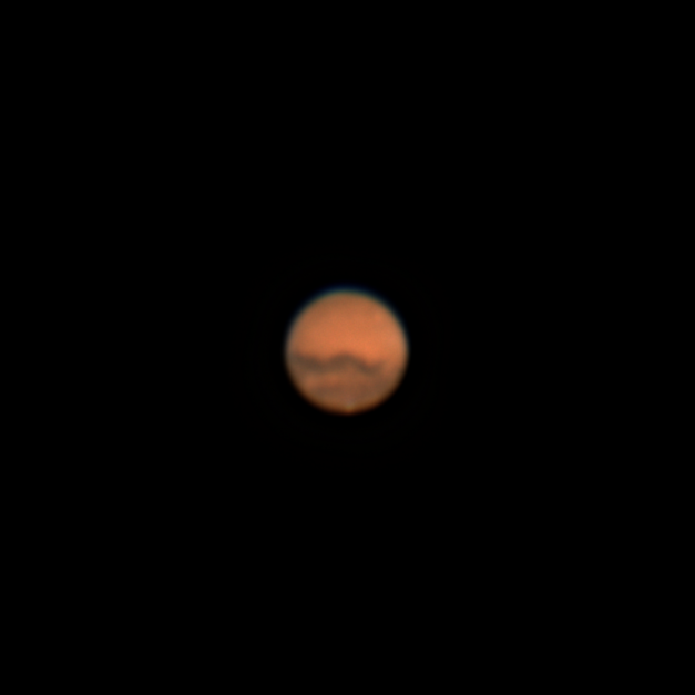 Photo: Mars during its opposition, or close approach to Earth, October 16, 2020. A tiny bright dot at the bottom is the planet's polar ice cap.