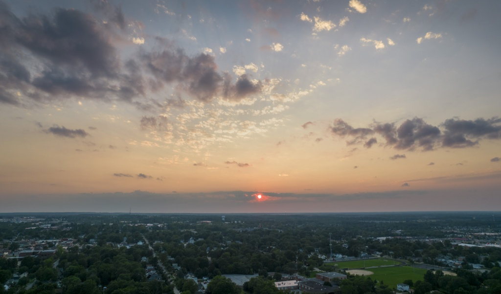 A view of the sunset the evening of July 31, 2021 as seen from a drone aircraft hovering at about 300 feet above Medina, Ohio.